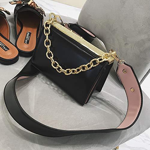 Petit Sac féminine Diagonale Sac Sauvage marée épaule Femme fée Sac Mode Noir WSLMHH Large carré Bag Bande pXWZqdX