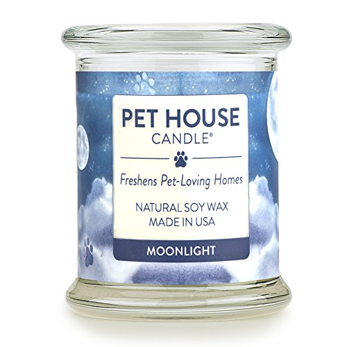 One Fur All - 100% Natural Soy Wax Candle, 20 Fragrances - Pet Odor Eliminator, 60-70 Hrs Burn Time, Non-Toxic, Eco-Friendly Reusable Glass Jar Scented Candles – Pet House Candle, Moonlight