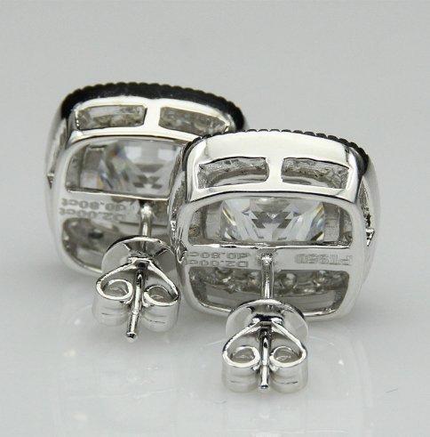 Gowe Cushon Cut Halo Esdomera moissanites 3.4CTW Boucles d'oreilles 9K Or blanc Paire Lab Cultivées Diamant Boucles d'oreille à tige