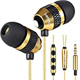 Betron B25 Noise Isolating in Ear Canal Headphones Earphones with Pure Sound and Powerful Bass for iPhone, iPad, iPod, Samsung Smartphones and Tablets with Volume Control and Microphone (Gold)