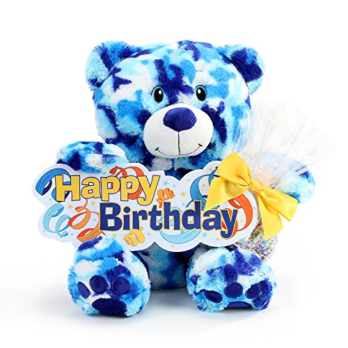 Happy Birthday Stuffed Bear Candy Gift - Sky Camo Print