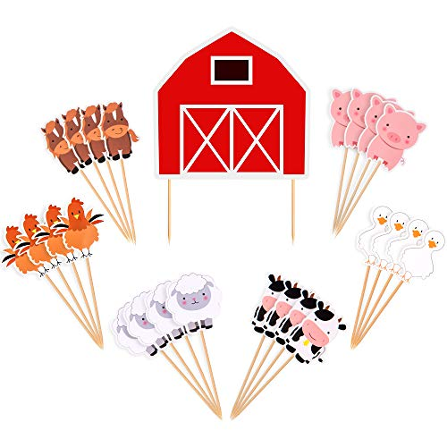 Titiyogo Farm Animal Cake Toppers Cupcake Toppers Decor Birthday Party Supplies for Baby Shower Birthday Party Favors Farm Zoo Animal Cake Decorations for Cupcake Topper for Kids Boys Girls- 25 PCS]()