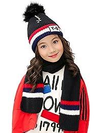 Kids Beanie Pom Hat and Knit Scarf 2pcs Set for Winter Warm Girls Boys 3-8 Years (Black)