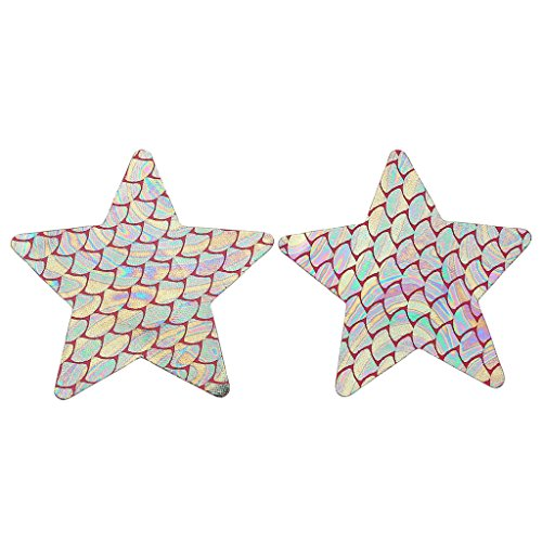 Ayliss 10Pair Fish Scale Star Shape Nipple Covers Disposable Pasties Stickers,Mermaid - Nude Nordic Women