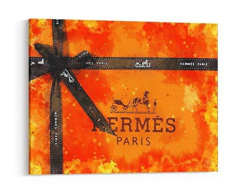 - Fashion wall pop art print home décor- Illustration - Hermes Paris gift Box Art Watercolor - Chic Glam Vogue poster on Canvas 1005