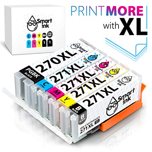 Smart Ink Compatible Ink Cartridge Replacement for Canon PGI 270 XL CLI 271 (PGBK&BK/C/M/Y 5 Pack Combo) to use with PIXMA MG5720 MG5721 MG5722 MG6820 MG6821 MG6822 MG7720 TS5020 TS6020 TS8020 TS9020