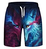 Gludear Men's 3D Print Casual Classic Loose Fit Trunks Boardshort Shorts,Wolf,S/M