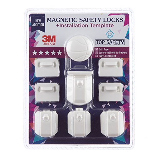 Baby Proof Magnetic Cabinet Locks Kit of 4 Child Safety Adhesive Locking System No Drill Invisible Child proof Baby Proofing Drawer Lock for Cabinets Drawers Dresser with Magnet Key by Top Safety