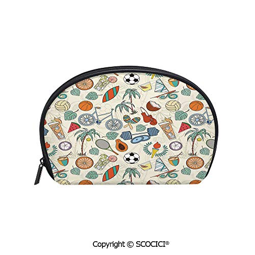 SCOCICI Durable Printed Makeup Bag Storage Bag Sports Themed Abstract Cartoon Style Icons Bike Balls Olympic Flame Weight Gloves for Women Girl Student