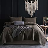 Kasentex Quilt Sets. Stone-Washed Country-Chic Floral Embroidery Patterned 100% Cotton Polyester Filling Bedspread 2 Shams, FULL/QUEEN, Slate Grey