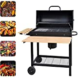 HomeyStyle Charcoal Grill Barrel Outdoor BBQ Picnic Camping Patio Backyard Barbecue Trolley Smoker with Folding Side Table,KY1813 Black