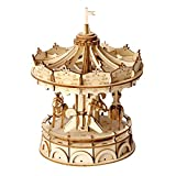 Rolife Merry-Go-Round 3D Jigsaw Puzzle Wooden Craft Kit Wooden Puzzle Architecture Model Toy for Kids and Adults Carousel Decoration Perfect Birthday Gift Valentine's Day