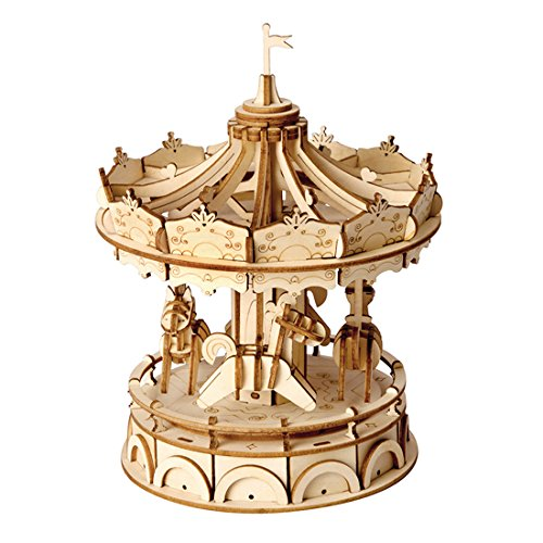 Rolife Merry-Go-Round 3D Jigsaw Puzzle Wooden Craft Kit Wooden Puzzle Architecture Model Toy for Kids and Adults Carousel Decoration Perfect Birthday Gift Valentine's Day ()