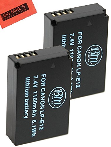 BM Premium 2-Pack of LP-E12 Batteries for Canon Rebel SL1, EOS-M, EOS M2, EOS M10, EOS M50, EOS M100 Mirrorless Digital Camera