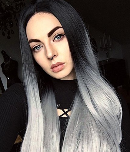 ra Synthetic Lace Front Wig Natural Straight Soft Dark To Grey Ombre 2 Tone Color Wigs ()