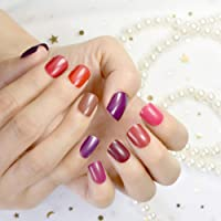 10 Sets Different Red Series False Nails Short Square Pure Color Purple Satin Acrylic Nails Wholesale 10 kits Simply…