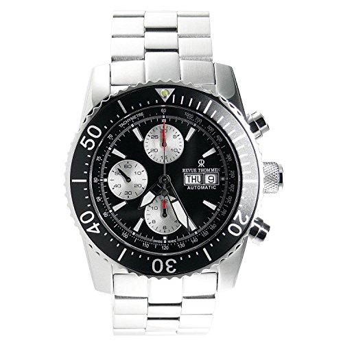 Revue Thommen Men's 45mm Steel Bracelet & Case S. Sapphire Automatic Black Dial Watch 17030.6137