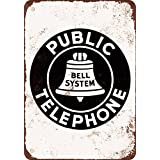 """Bell System Public Telephone 10"""" x 7"""" Vintage Look Reproduction Metal Sign"""