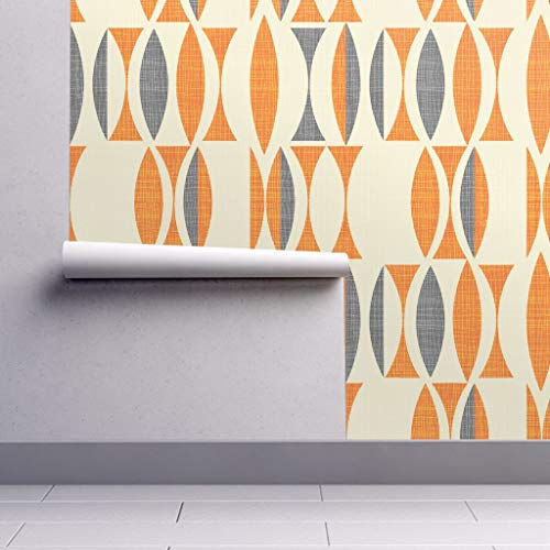 Peel-and-Stick Removable Wallpaper - Abstract Geometric Mid Century Modern Home Decor Vintage Gray by Chicca Besso - 12in x 24in Woven Textured Peel-and-Stick Removable Wallpaper Test Swatch ()