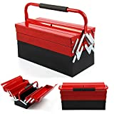 Shoze Heavy Duty Metal Tool Box 3 Tier 5 Tray Professional Portable Storage Cabinet Workshop Cantilever Toolbox with Carry Handles 430mm Red