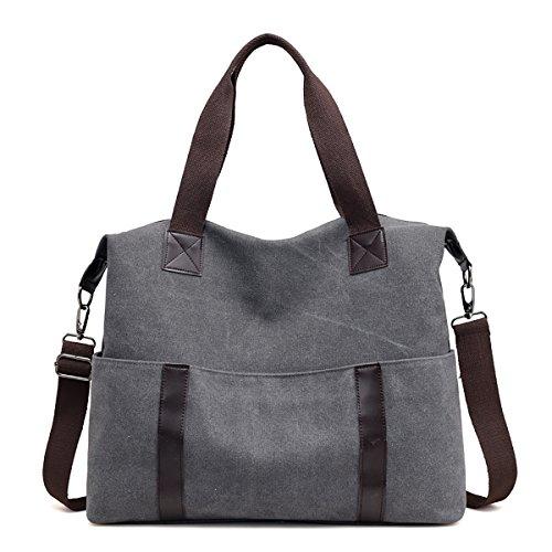 Sdinaz Women Canvas Handbags Large Designer Casual Shoulder Bag Crossbody Lightweight Gray