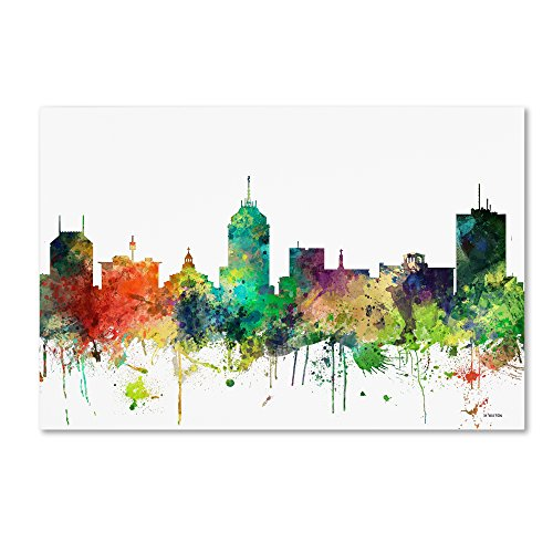 City Lights Fresno (Fresno California Skyline SP by Marlene Watson, 30x47-Inch Canvas Wall)