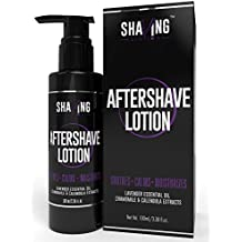 Shaving Station - Aftershave Lotion - Lavender & Tea Tree Oil - Sooth, Calm & Moisturize Lass-O Mens After Shave - Vitamin B5 & E - Cocoa & Shea Butter - Aloe-Vera - No Paraben or Sulfate 3.38 Fl Oz