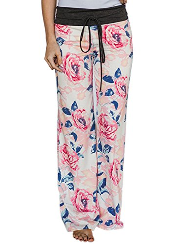 Pink Pyjama Pants - Famulily Women's Comfy Soft Stretch Wide Leg Floral Print Palazzo Pajama Pants Lounge(Pink,Large)