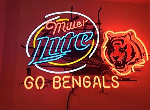 QUEEN SENSE New 24''x20'' Miller Lite Cincinnati Sports Team Go-Bengals Neon Sign (Multiple Sizes Available) Man Cave Bar Pub Beer Handmade Neon Light EX64