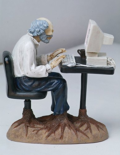 Computer Figurine - PTC Pacific Giftware Resin Man Growing Roots at Desk Work Too Long Statue Figurine, 4.5