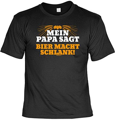 T-Shirt - Mein Papa sagt Bier macht schlank - lustiges Sprüche Shirt als Geschenk für Biertrinker mit Humor
