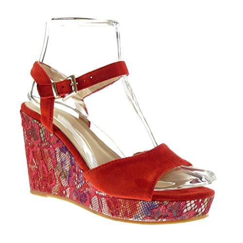 Angkorly - Scarpe da Moda sandali con cinturino alla caviglia zeppe donna fiori ricamo fantasia Tacco zeppa piattaforma 10 CM - Rosso