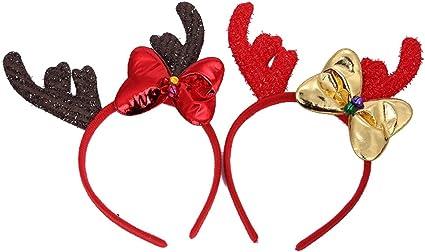 Lurrose 2 piezas de diadema de hormigas de Navidad, lazo para el ...