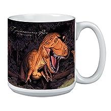 Tree-Free Greetings Extra Large 20-Ounce Ceramic Coffee Mug, T. Rex 1 Themed Wildlife Art (XM29893)
