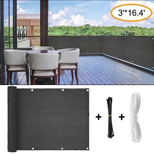 Amogo Fence Privacy Screen, 3ft x16ft Mesh Fence Windscreen for Porch Deck, Outdoor, Backyard, Patio, Balcony to Cover Sun Shade, UV-Proof, Weather-Resistant (Gray)