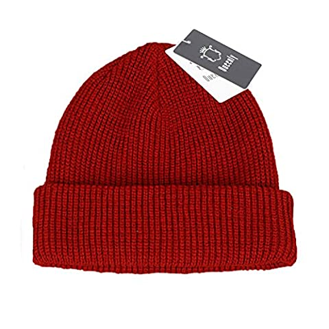 Queenly Winter Thick Rib Knit Hat, Stretch Slouchy Beanie Cap for Man and Woman, Red