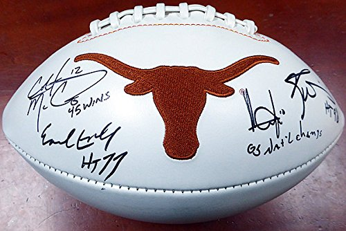 Texas Longhorns Team Greats Signed White Logo Football 05...