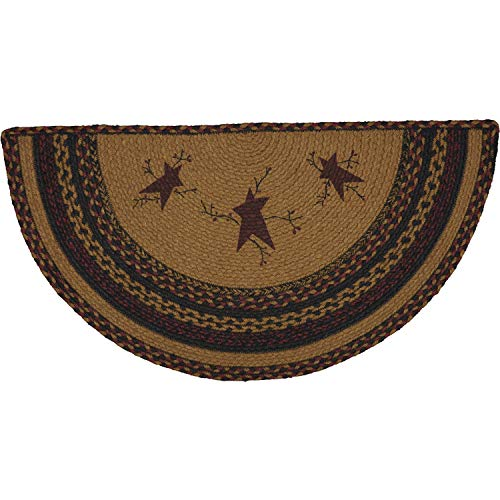 VHC Brands 56709 Heritage Farms Star and Pip Graphic/Print Jute Primitive Flooring Stenciled Half Circle Rug, Mustard Tan Yellow Country Heritage Yellow Rug