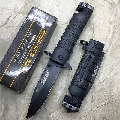 Tac-Force spring Assisted Open Black Bayonet Style Tactical Rescue Pocket