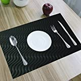 Kuber Industries Refrigerator Mats/Fridge Mats/ Multi Purpose Mats/Drawer Mats/Place Mats Set Of 6 Pcs (Black) Multi Purpose Use Frp017