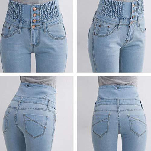 A Moda Curvy Neri Alta Sexy Aderenti Blu Blue2 Vita Pantaloni Jeans Alla Da Donna vxWIz