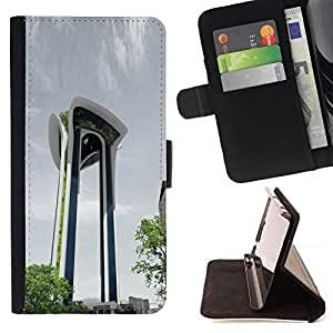 DEVIL CASE - FOR Sony Xperia M2 - Architecture Moden City Abstract Building - Style PU Leather Case Wallet Flip Stand Flap Closure Cover