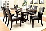 Furniture of America Alfaro 7-Piece Modern Faux Marble-Top Dining Set