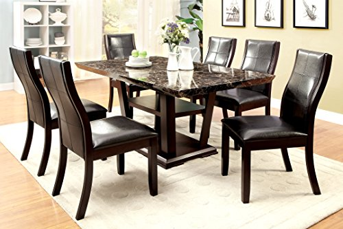 Furniture of America Alfaro 7-Piece Modern Faux Marble-Top Dining ()