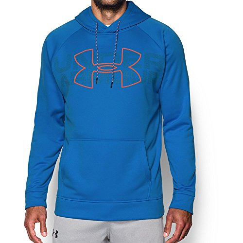 Under Armour Mens Armour Fleece Graphic Hoodie, Mako Blue (983)/Magma Orange, Large
