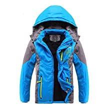 SODIAL(R) Children Outerwear Warm Coat Sporty Kids Clothes Double-deck Waterproof Windproof Thicken Boys Girls Jackets Autumn and Winter£¨Blue 13-14T=170CM)