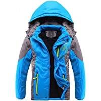 SODIAL Children Outerwear Warm Coat Sporty Kids Clothes Double-deck Waterproof Windproof Thicken Boys Girls Jackets Autumn and Winter」ィBlue 7-8T=140CM)