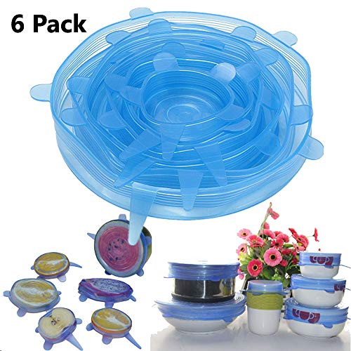 (Silicone Lid Kitchen Home Silicone Stretch Lids Durable & Expandable Reusable Food Saver Covers Kitchen Pan Spill Lid Stopper Cover 6PCS/Set (Blue))