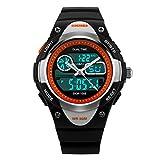 Children Watch Boys Girls Outdoor Sports Watch Digital Analog LED Quartz Watch Waterproof Sports Wrist Watch-Black