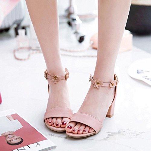 FANIMILA Mujer Moda Ankle Strap Sandalias Punta Abierta Tacon Ancho Zapatos Flors Rosado